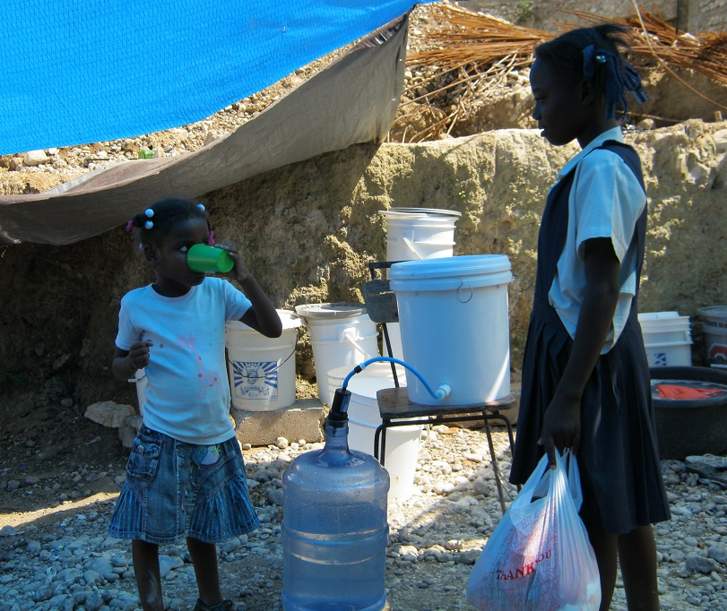 Haitian Girls with Clean Drinking Water