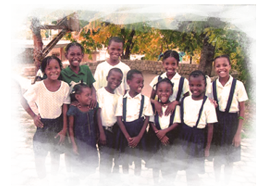 Haitian School Children in Rescue One Provided School Uniforms